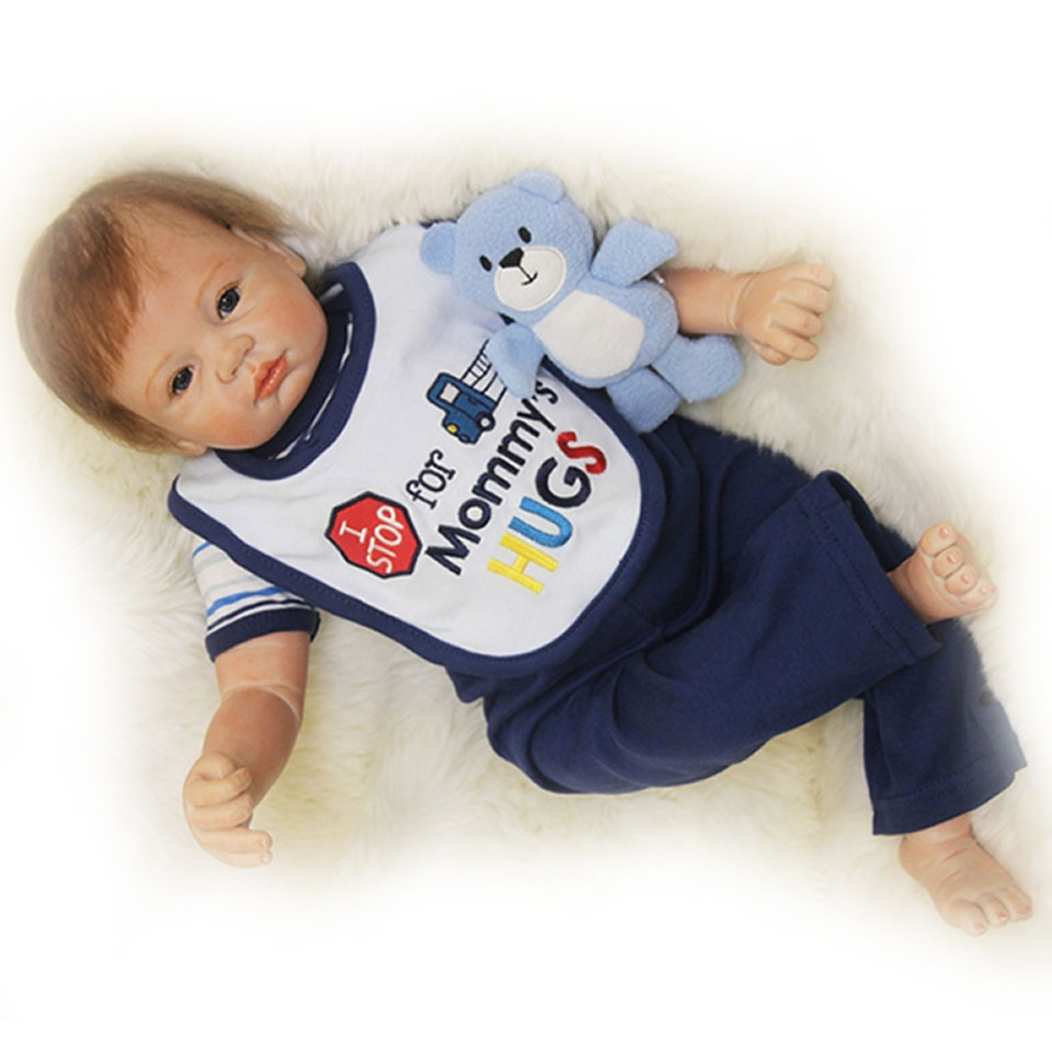 Fashion 22'' Lifelike Cloth Body Baby Dolls Reborn Boy Toy Soft Silicone Baby Dolls with Mohair Looks So Truly Kits Xmas Gifts