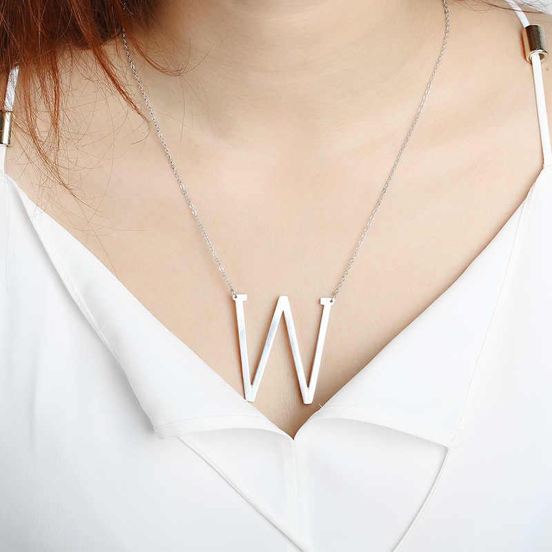 ファッション 26 手紙ネックレスペンダントアルファベット 3 色ステンレス鋼のチョーカー初期ネックレス女性ガールジュエリーコリアー SP-102