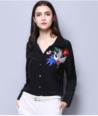 La nouvelle marque de marques européennes et américaines brodé chemise en soie à manches longues chemise en soie ruban femme élégante