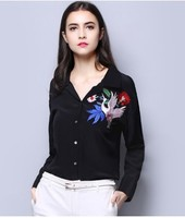 The new brand of European and American brands embroidered silk shirt with long sleeves shirt silk ribbon elegant woman