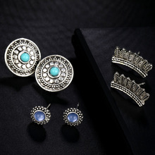 KISSWIFE Fashion 6 Pairs/Set Green Purple Opal Stud Earrings for Women Wedding Party Flower Pattern Earring Jewelry