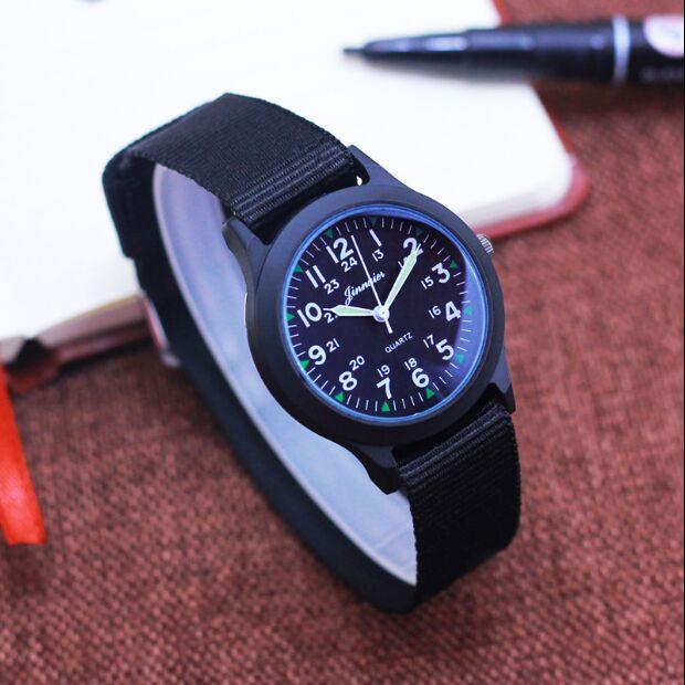 Fashion Men Women Unisex Platimum Nylon Fabric Watch Sport Thin Students Canvas Quartz Dress Wrist Watches For Boy Girl