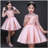 Bebé niña fiesta Vestidos para niña princesa boda ropa 2017 nuevo color sólido arco moderador vestido niños ropa