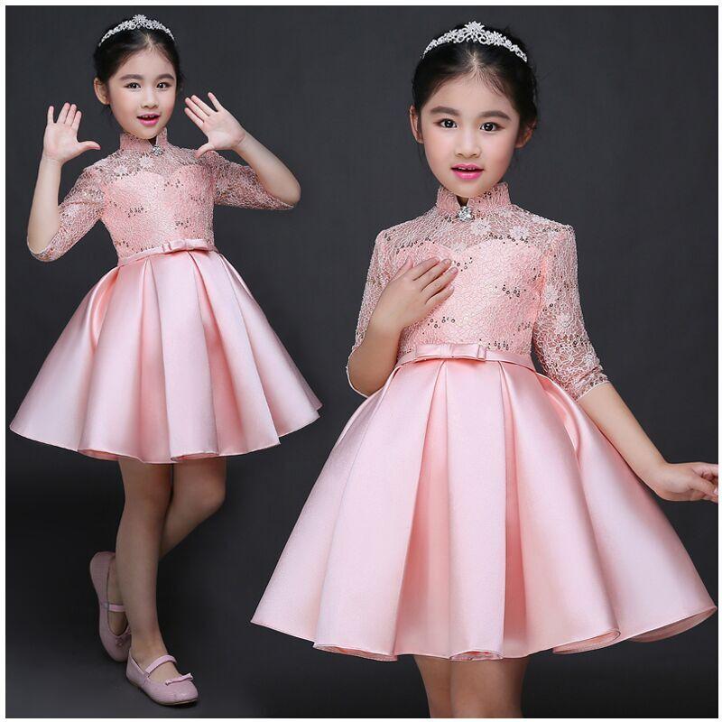 Bebê Menina Miúdo vestido de Noite Vestidos de Festa Para O Casamento De Menina Princesa Roupas 2017 Nova Cor Sólida Arco Moderador Vestido Crianças Roupas