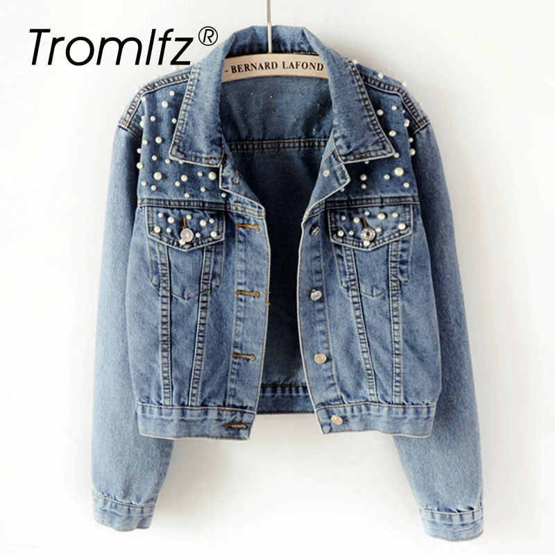 Tromlfz Pearl Beading Short Denim Jacket Women Plus Size White Wash Long Sleeve Vintage Casual Jean Jackets Bomber Denim Coat