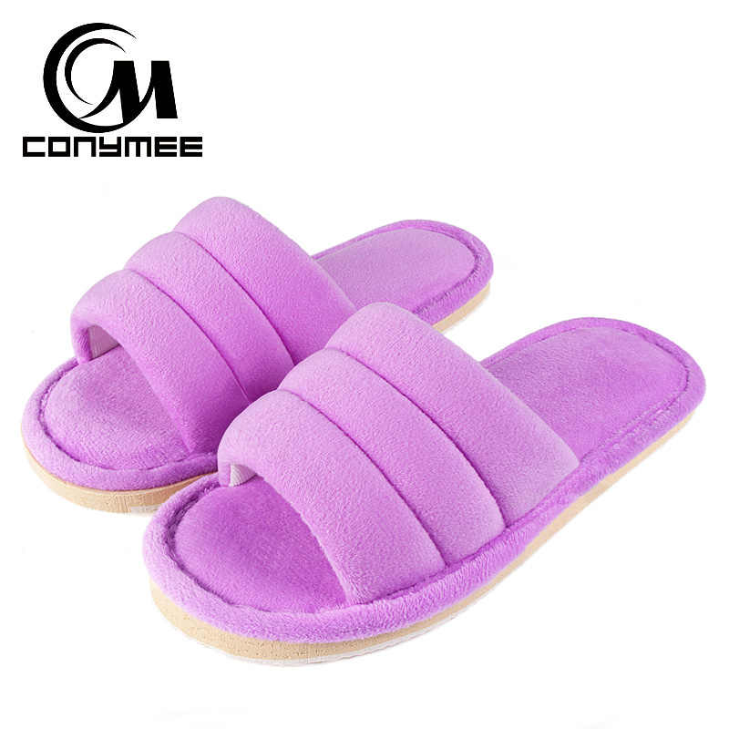 Winter 2019 Home Indoor Flats Shoes Woman Fur Slippers Sandals Soft Plush Female Warm Cotton Shoes Lady Fluffy Bedroom Slippers