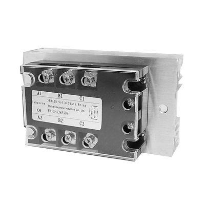 ФОТО High quality  AC-AC 40A 90-280VAC/ 380VAC 3 Phase SSR Solid State Relay w Heat Sink