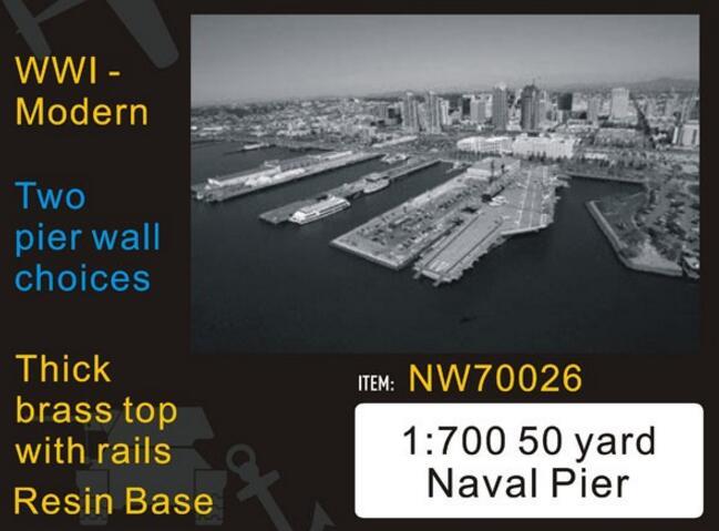 1/700 échelle 50 Yard Naval Pier WWI-choix modernes de mur de jetée (résine + métal), (modèle de bâtiment militaire en métal, non assemblé)