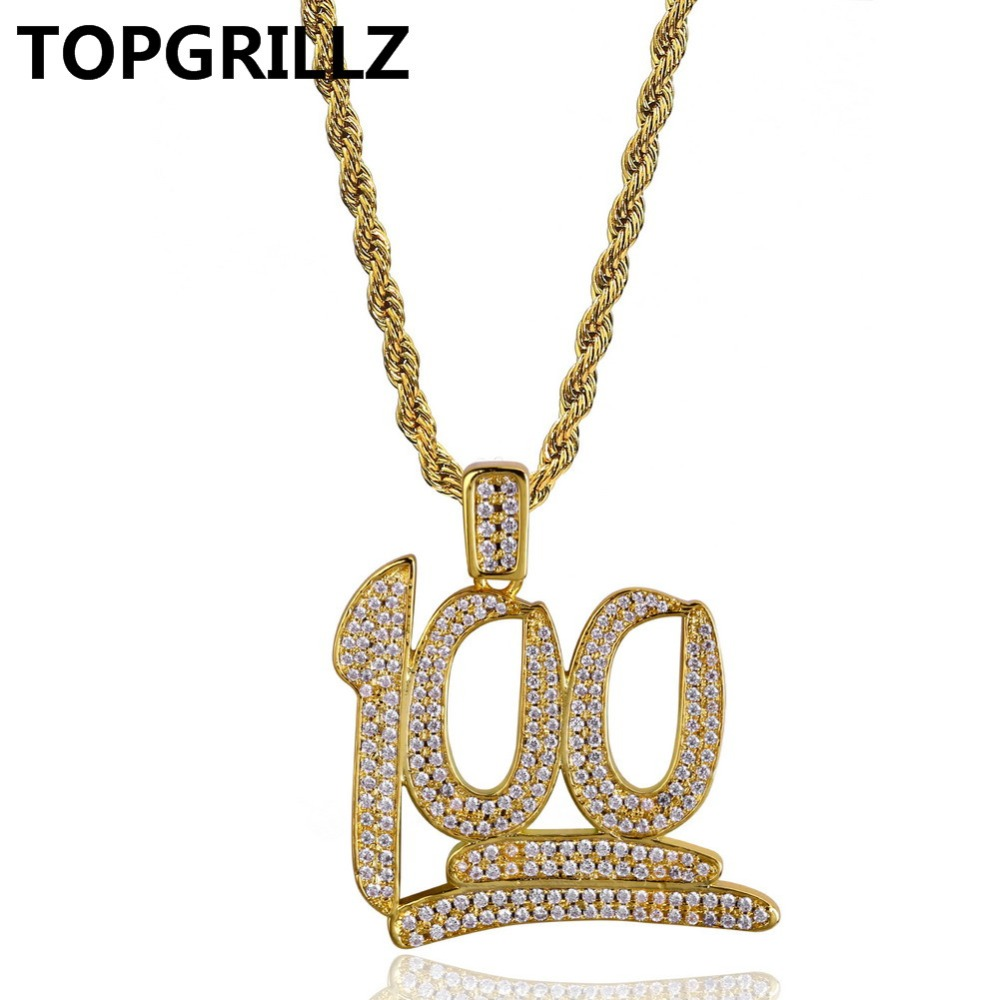 TOPGRILLZ Hip Hop 100 Point Micro Pave Cubic Zircon Necklace & Pendant Gold/Silver Color Necklace For Male Length 24 Inch