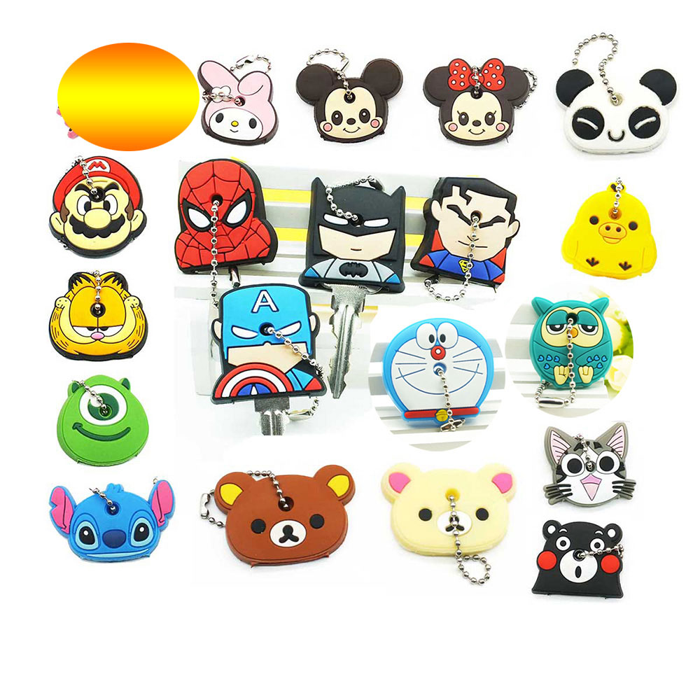 Cute Cartoon Anime Keychain Key Cover Silicone Stitch  Minnie Key Chains Caps The Avengers Hero Holder Women Car Keychains