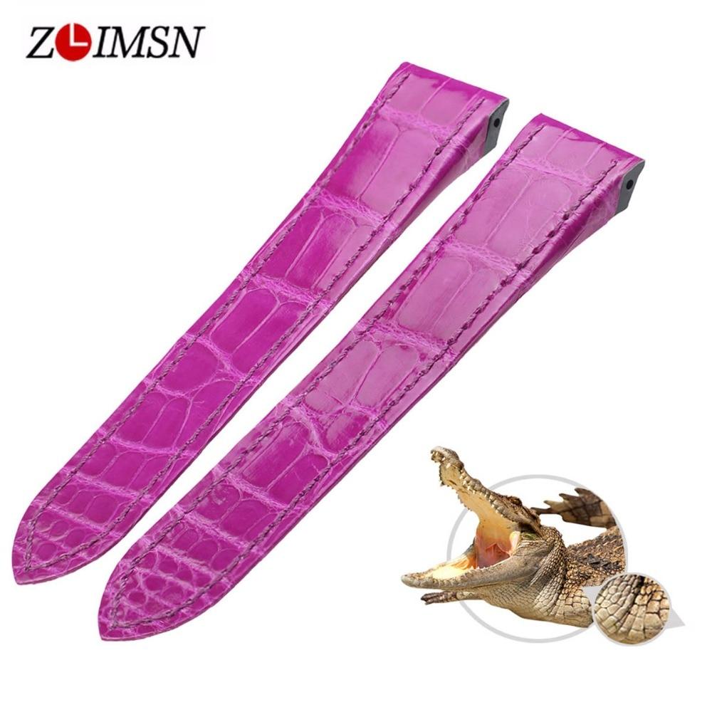 ZLIMSN bracelet en cuir de Crocodile de luxe de haute qualité rouge confortable imperméable à l'eau Fine artisanat couture 12mm-26mm pour hommes femmes