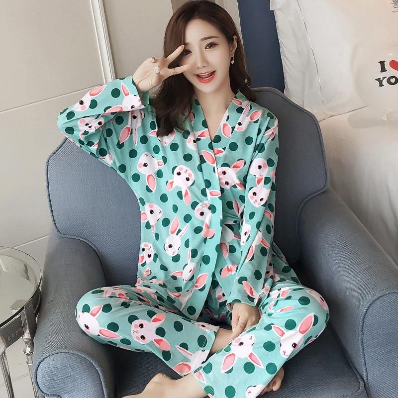 BabYoung 2018 Spring Japan Kimono Style Women Pajamas Set Confinement Suit Flower Print Long Sleeve Cotton Home Wear Plus Size