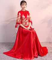 2018 Ne'w Red Women Chinese Traditional Dress Red Bridal WeddingDress Clothes Chinese National Long Female Party Dress