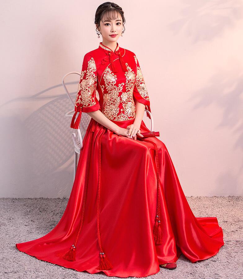 2018 Ne'w rouge femmes chinois traditionnel robe rouge mariée mariage robe vêtements chinois National longue femme robe de soirée