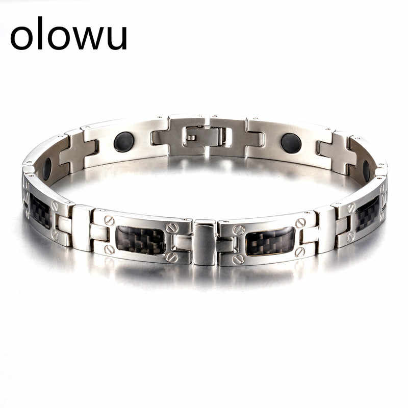 olowu Luxury Elegant Men Metal Healthy Bracelet Titanium Steel Power Therapy Magnetic Bracelets Bangles Stainless Steel Jewelry