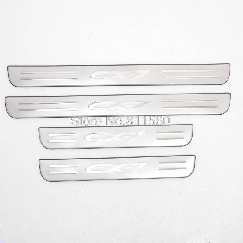 For Mazda CX7 CX 7 2007 2012 Stainless Steel Side Door Sill Scuff Plate Sills Protector
