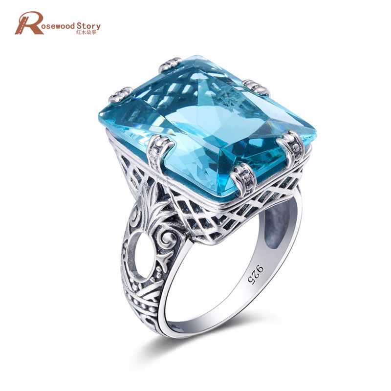 Unique Sky Blue Crystal Rings For Women Turkish Jewelry 925 Sterling Silver Cocktail Ring Anel Anillos Mujer Vintage Style