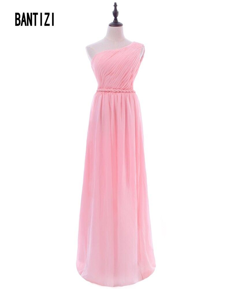 Simple Pink Vestidos de dama de Honor para La Boda de Un Hombro ...