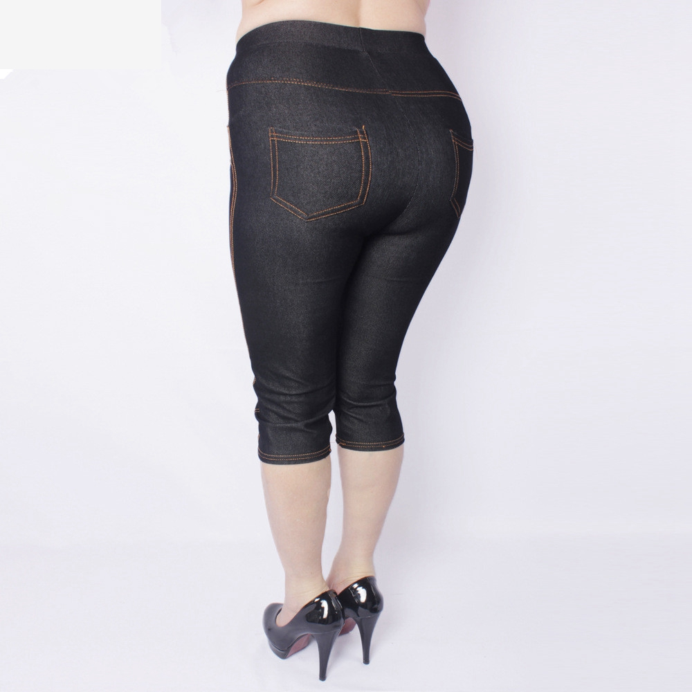 Summer Style High Quality Women Leggings Super Elastic Denim Soft And Breathable  5XL Plus Size Women's Mid-calf Pants