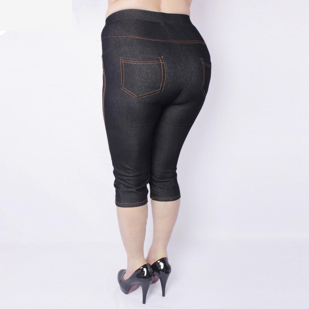 Summer Style High Quality Women Leggings Super Elastic Denim Soft And Breathable  5XL Plus Size Women's Mid-calf Pants