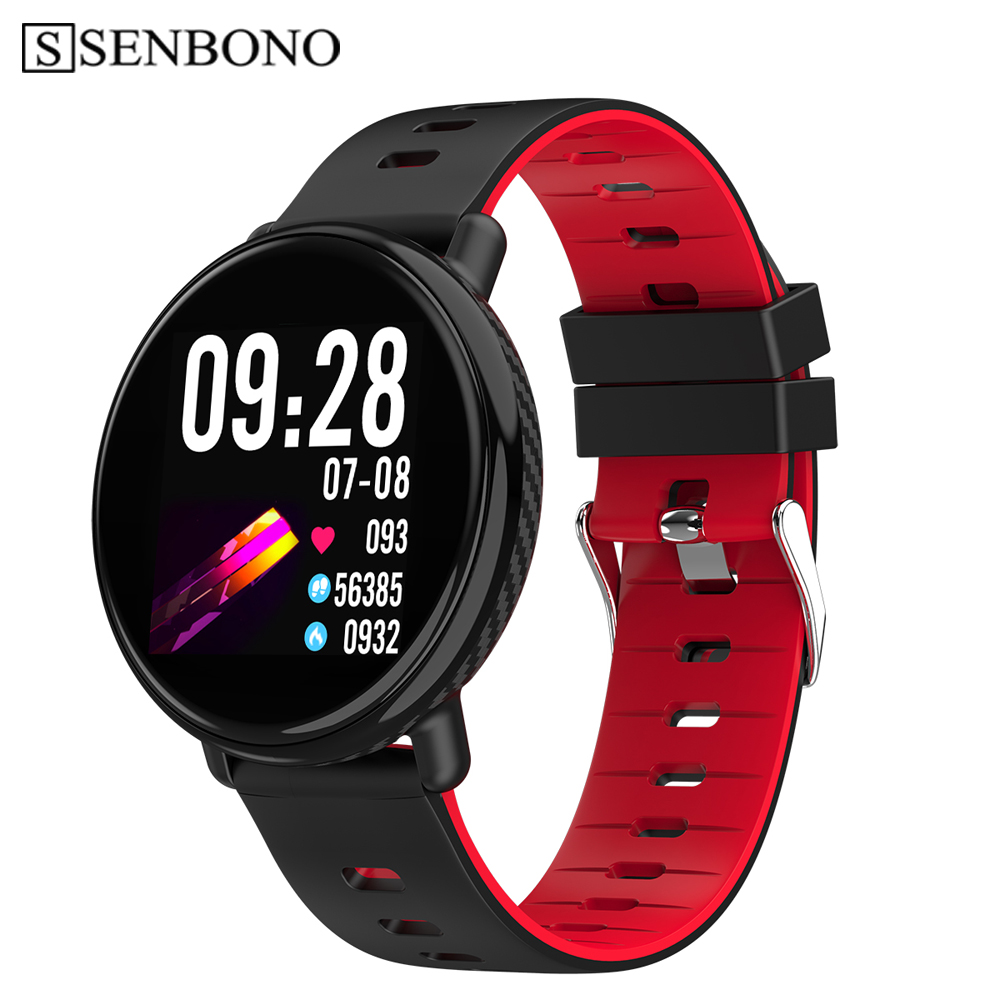 SENBONO K1 inteligente reloj de las mujeres de los hombres IP68, reloj a prueba de actividad rastreador de ejercicios monitor del ritmo cardíaco de Smartwatch para Android IOS