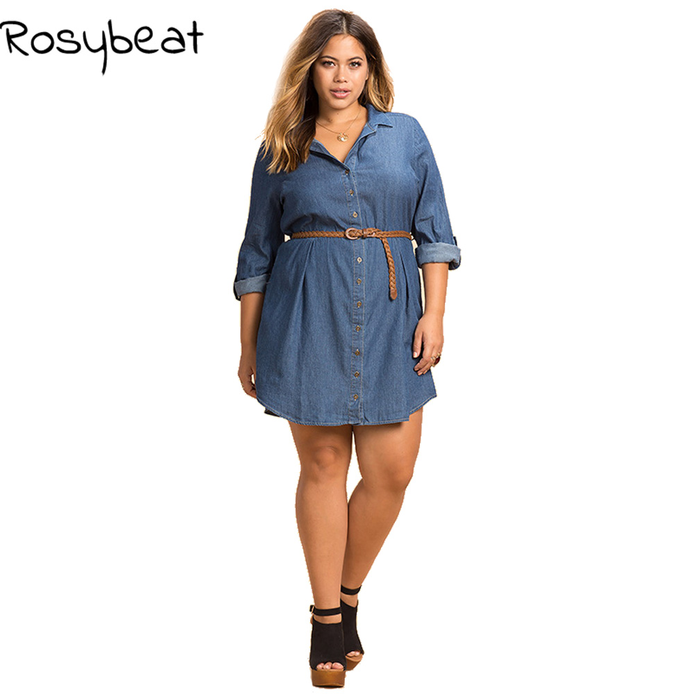 ec19a5746c US $26.96 |Denim Dress Plus Size Women 2017 Summer Dresses Long Sleeve Turn  down Collar Button Down Shirt Dress Slim Waist Brief Large 6xl-in Dresses  ...