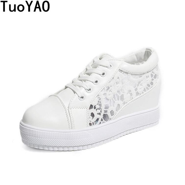 Womens spring  Lace Up Sneakers summer High Wedge Heel Creeper Platform Shoes