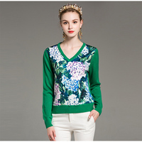 2018 New Spring Leaves Print V_neck Sweater Fashion Fashion Full Sleeve Patchwork Pretty Women Pullovers Sweaters
