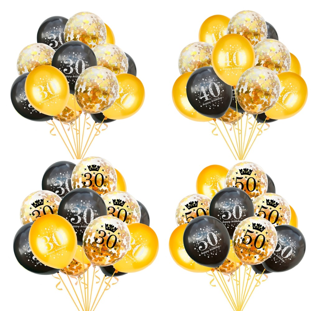 Huiran 15pcs <font><b>Birthday</b></font> Balloon 30 40 50 <font><b>Birthday</b></font> <font><b>Party</b></font> Decoration 30th 40th <font><b>50th</b></font> <font><b>Birthday</b></font> Decor <font><b>Birthday</b></font> Anniversary Balons image