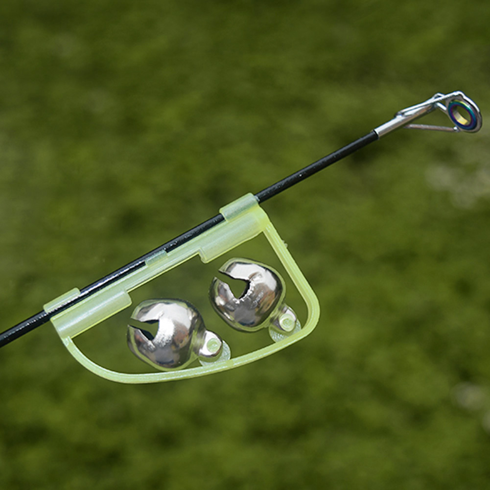 1pc LED Night Fishing Accessory Fishing Bell Float Twin Bell Ring Aluminum Alloy Fishing Bite Alarm Outdoor Fishing Tool
