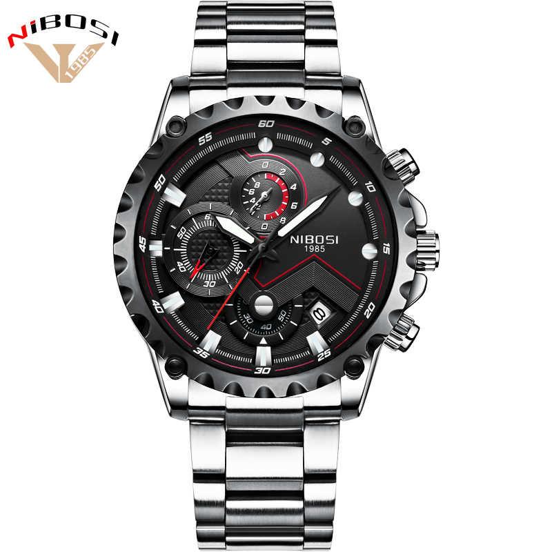 צבאי שעונים גברים קוורץ אנלוגי גברים שעונים נירוסטה זמן תאריך שעון גברים יוקרה מותג חם מפורסם מותג שעונים NIBOSI