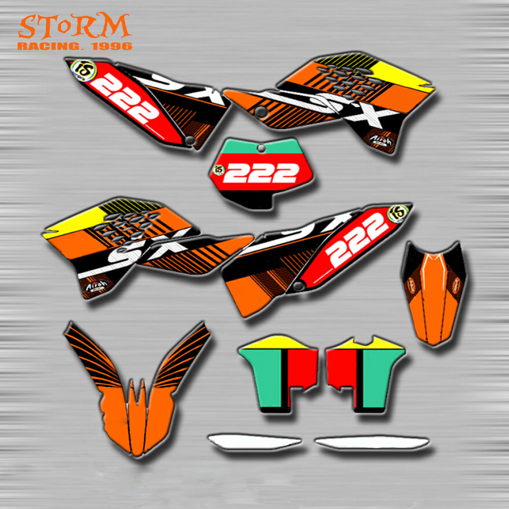 Decals Graphics With Matching Backgounds Customize Stickers Kits For KTM SX 125 150 250 350 450 EXC XC XCW XCF XCFW SXF SXS SMR cnc stunt clutch lever easy pull cable system for ktm exc excf xc xcf xcw xcfw mx egs sx sxf sxs smr 50 65 85 125 150 200 250