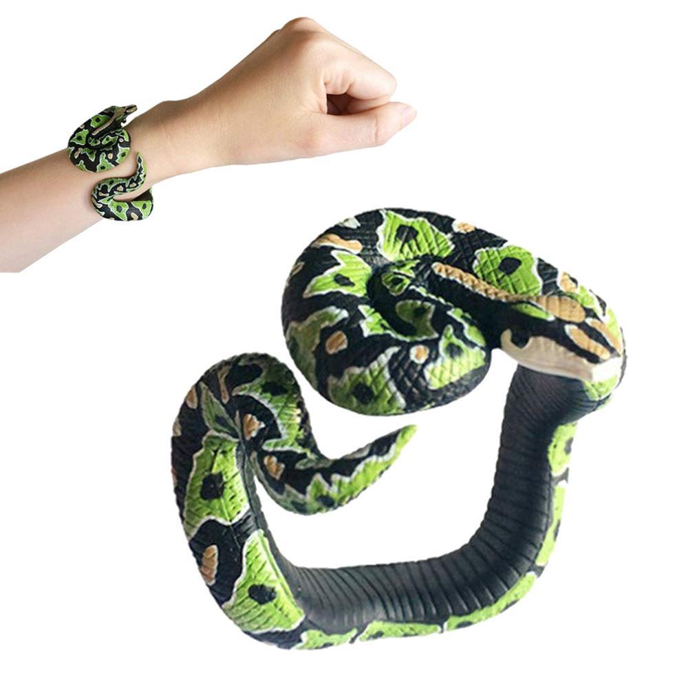 Fake Snake Novelty Toys Simulation Snake Resin Bracelet Scary Rattlesnake Cobra Horror Funny Birthday Party Toy Joke Prank Gifts