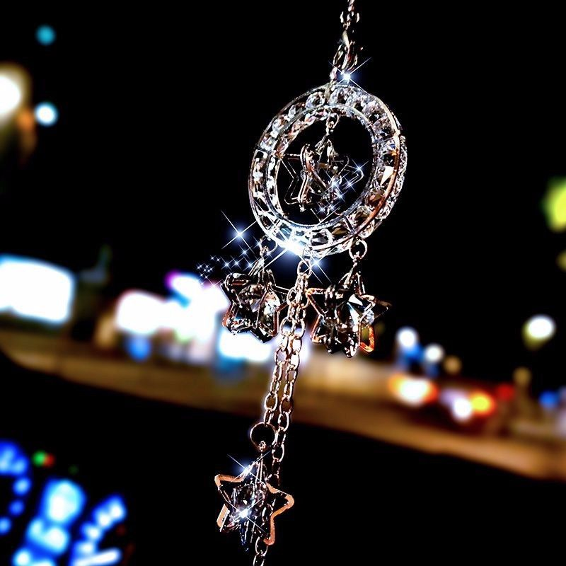 Fashion Car Rearview Mirror Hanging Five pointed Star Crystal Charm Dangling Pendant Ornament
