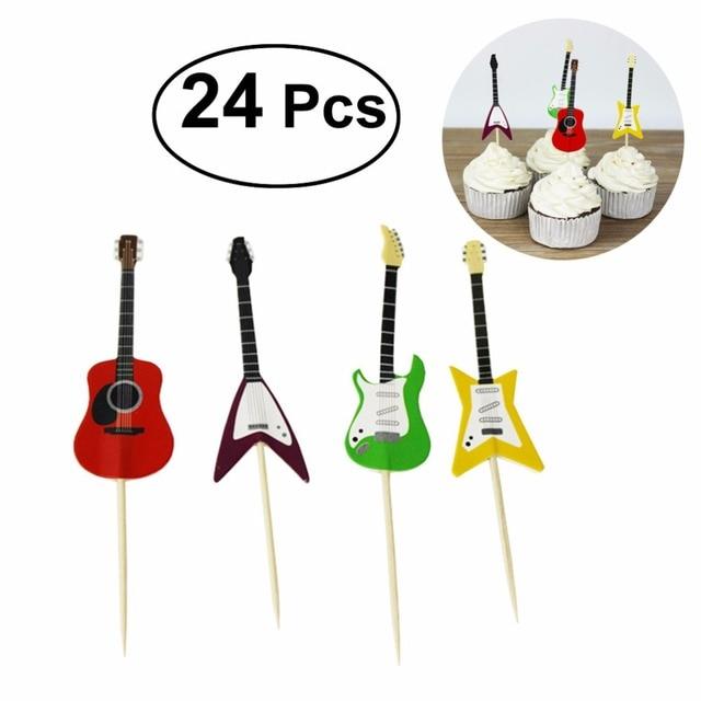 BESTOYARD 24pcs/set Guitar Cupcake Toppers Picks Musical Instrument Shape Cake Decorating Tools for Birthday Party Decor