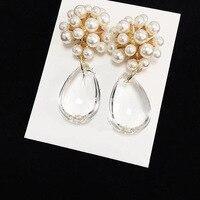 Hot Brand Fashion Jewelry For Women Water Drop Pearl Fresh And Bright Water Drop Fashion Shine Earrings