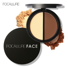 Focallure Face Makeup Highlighter & Bronzer Press Powder 1 pcs Two-color Shimmer Highlighting Powder and Contour Palette