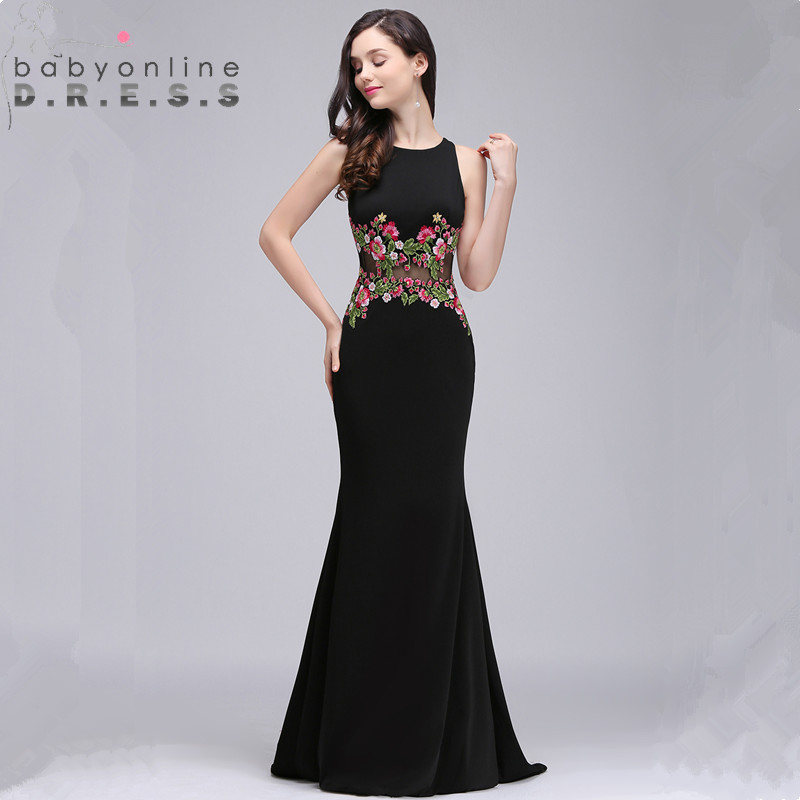 34 Colors Custom Make Mermaid Floral   Evening     Dress   Sexy Illusion Embroidery Flowers   Evening   Gown Robe de Soiree Longue