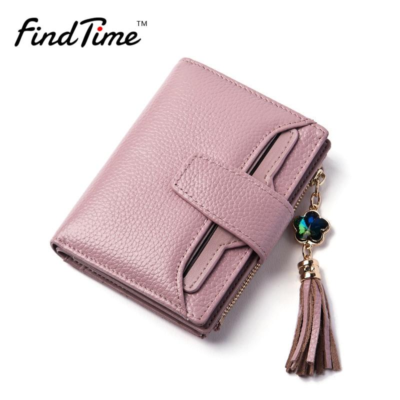 FINDTIME Brand First layer Cow Genuine Leather Women Zipper Tassel Diamond lady Short Wallet Female Clip
