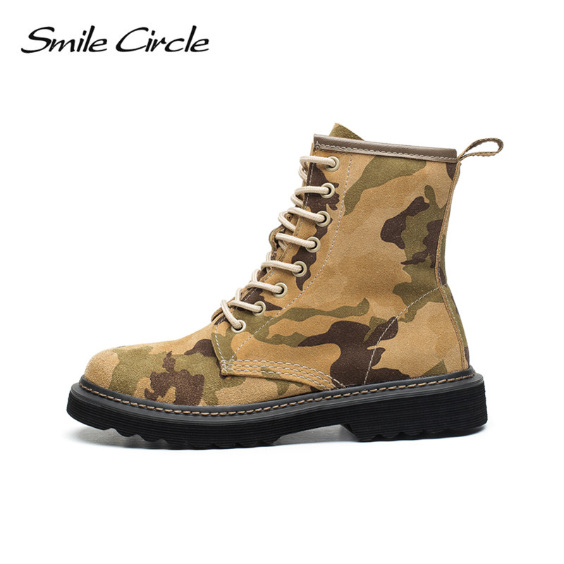 Autumn Winter Shoes women ankle boots Round toe Lace-up Genuine Leather boots women Camouflage Martin boots platform boots botas women s boots genuine leather ankle boots round toe lace up woman casual shoes with without fur autumn winter boots 568 6