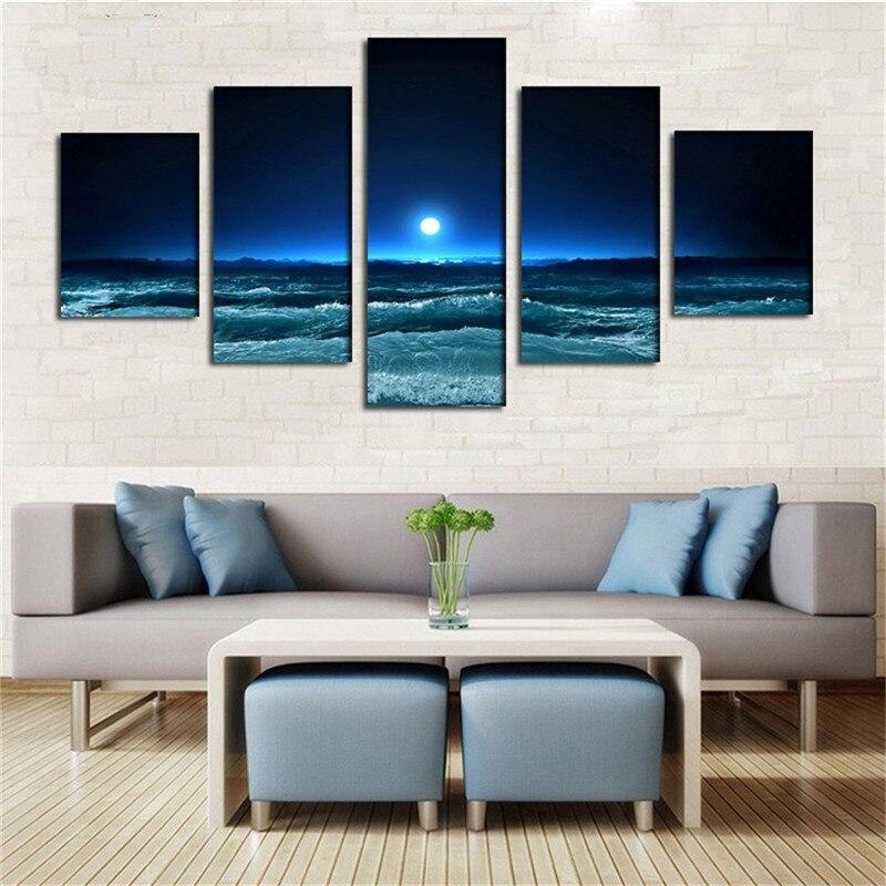 Nº5 paneles arte océano azul oscuro blanco Sol moderno giclee lienzo ...