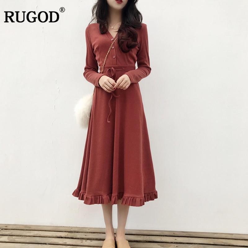 RUGOD 2018 Spring Newest Vintage Elegant Midi Dress Women Casual Long Sleeve Belted Pleated Dress High