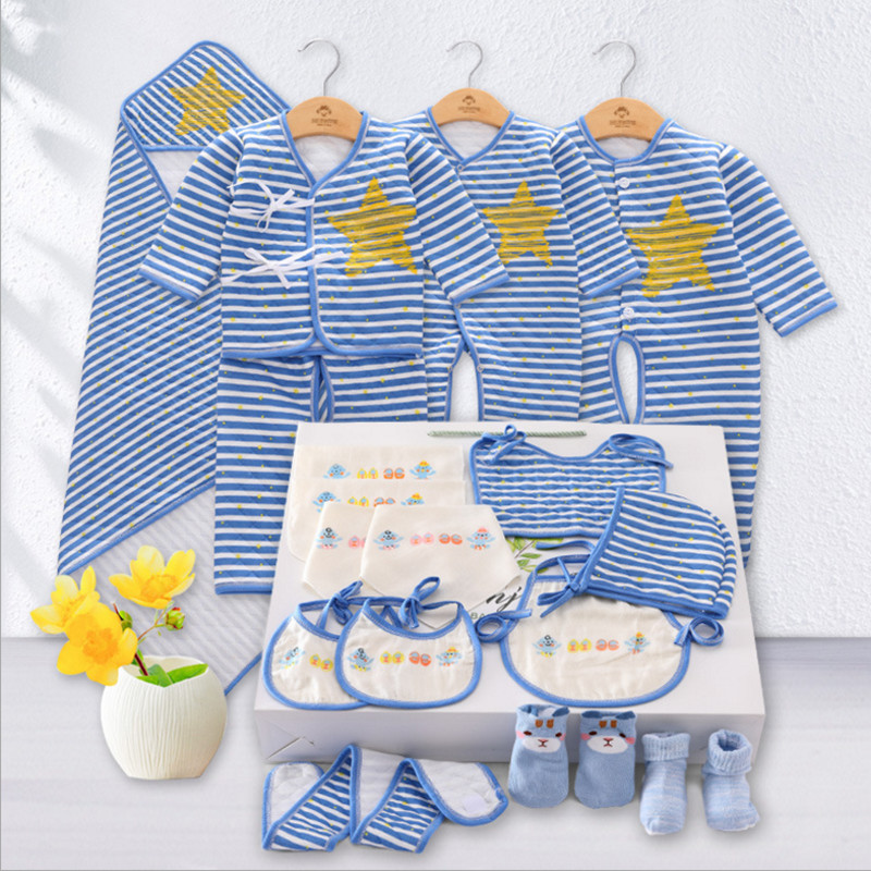 Banjvall Baby Winter Girls & Boys Clothes Newborn Baby Clothing Set Infant Underwear Suit 100% Cotton Striped 15 Pieces Set
