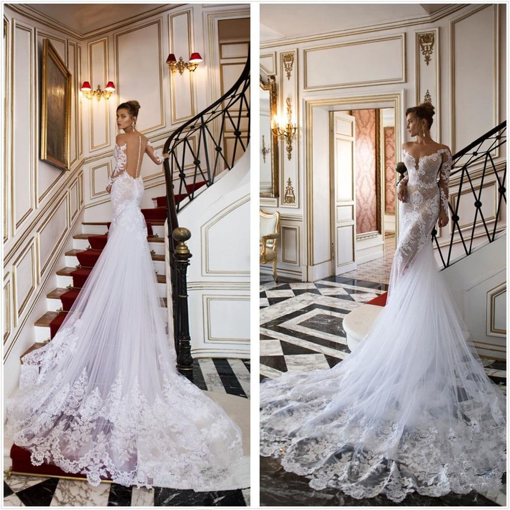 mermaid cheap wedding dress sheer back cheap sexy wedding dresses Mermaid Pure White Cheap Wedding Dress Sheer Lace Flowers Sexy Bridal Gowns