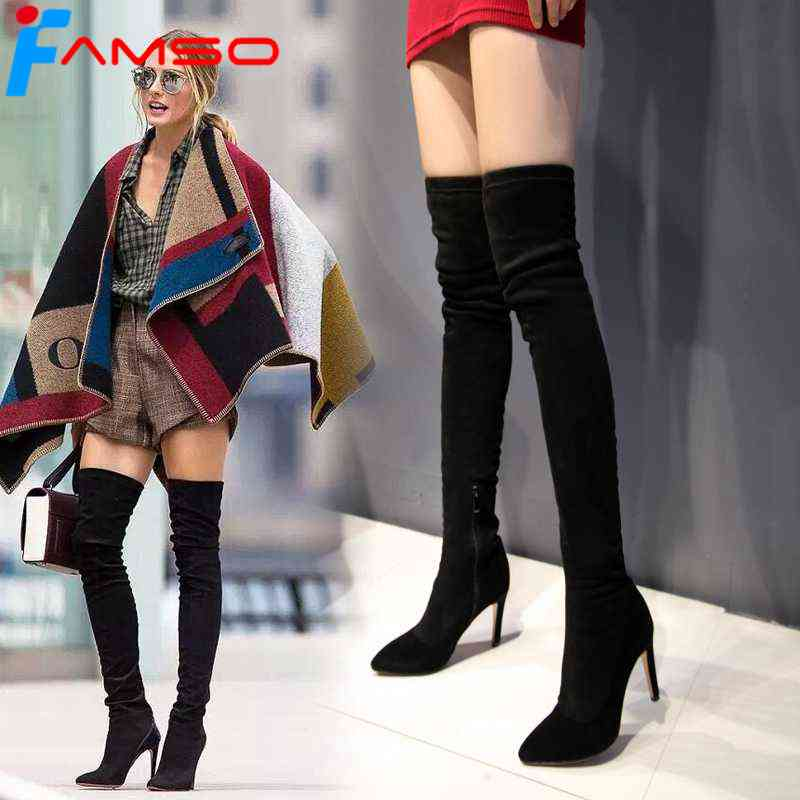 FAMSO 2018 Big Size34-43 Women Boots Designer Female Red Thigh High Boots Pointed Toe Sexy Party Winter Over The Knee Boots