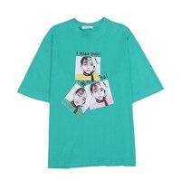 Woman Cotton Tshirt Summer Character Print O Neck Short Sleeve Harajuku Tops Casual Female Loose Basic White T Shirt