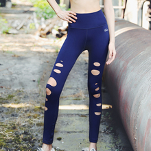 Women High Waist Hollow Outdoor Yoga Pants Slim GYM Fitness Sports Leggings Sexy Elasticity Girl's Compression Exercise Trousers