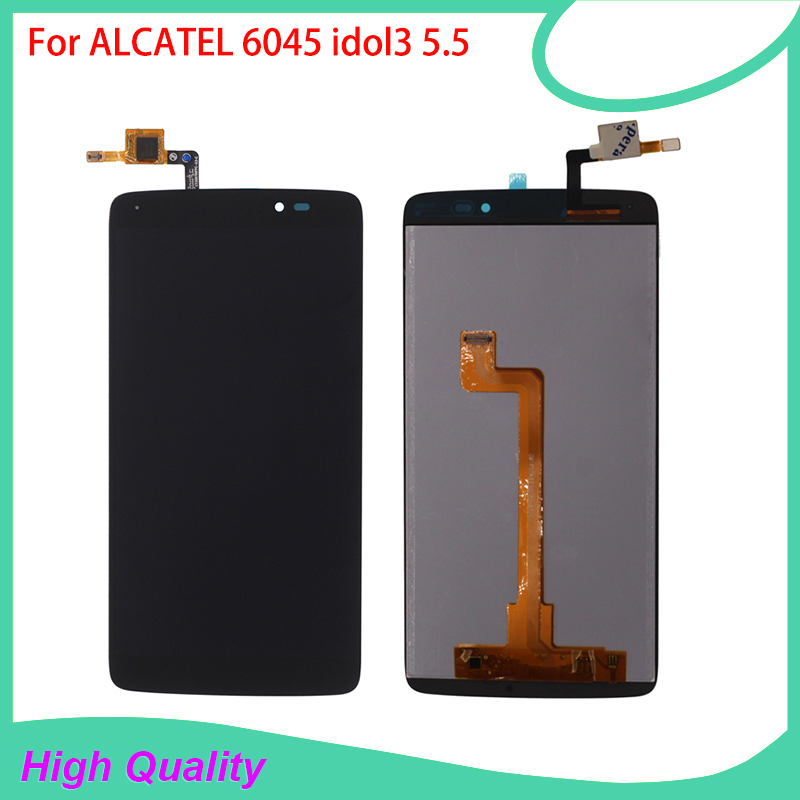 Hot Selling LCD <font><b>Display</b></font> For <font><b>Alcatel</b></font> idol3 OT6045 6045 <font><b>6045Y</b></font> 6045F Touch Screen BlackColor 100%Guarantee Mobile Phone LCDs image