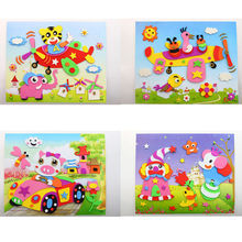 1 Pcs DIY EVA Foam Sticker  Cartoon Animal 3D Puzzle Baby Educational Toys 8.27*10.24