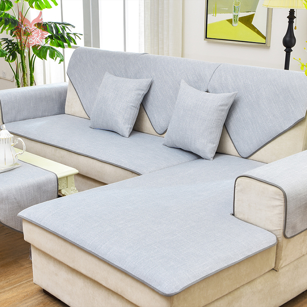 US $11.55 45% OFF|European style light grey linen sofa cover cama cover for  living room fundas de sofa sectional couch cover fundas de sofa SP4926-in  ...